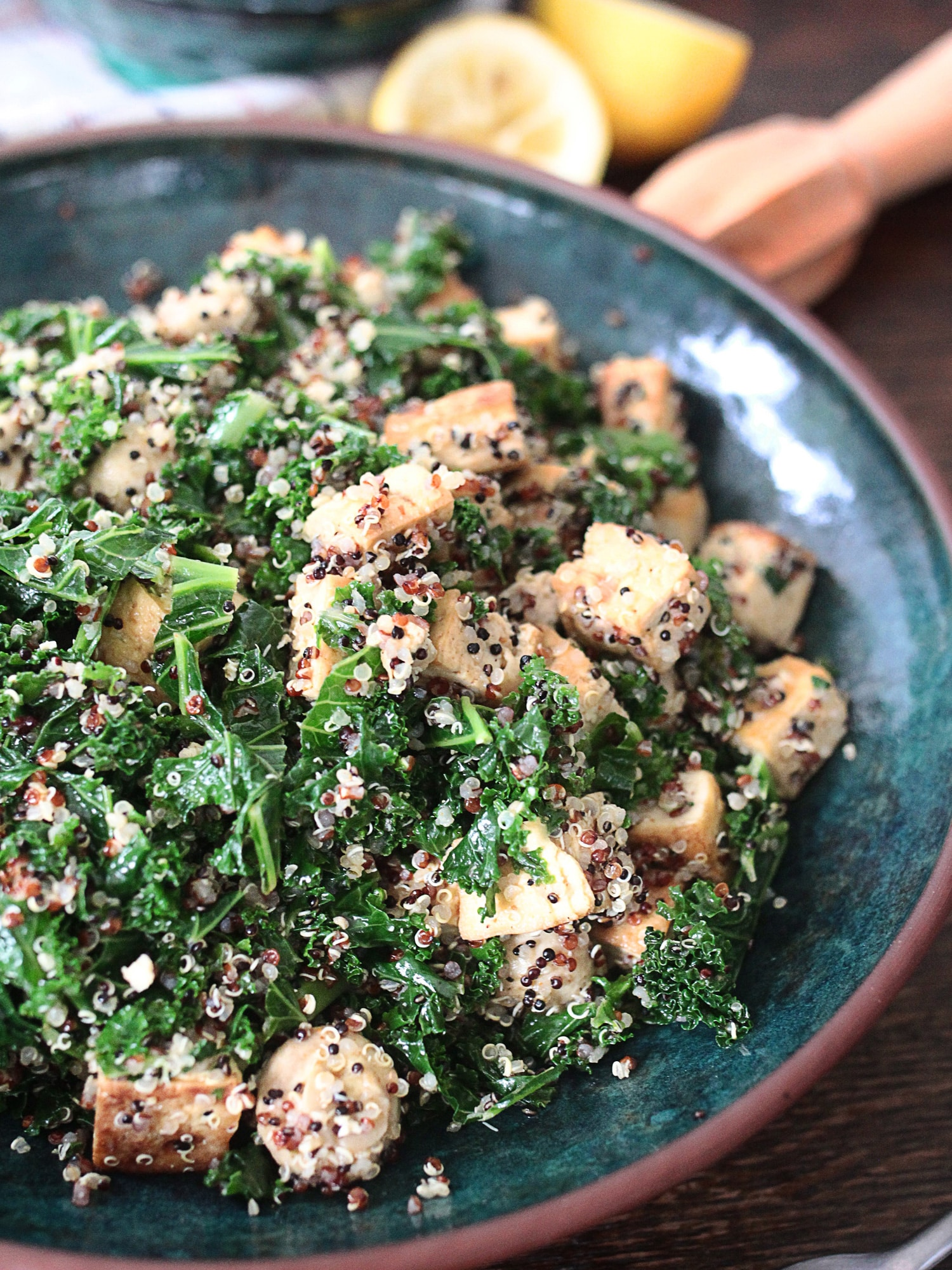 Kale tofu mushroom quinoa 1
