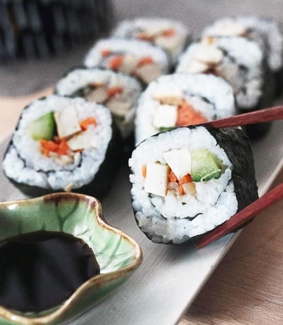 Tofu and enoki mushroom sushi roll
