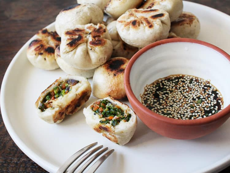 Kale and mushroom puff dumpling
