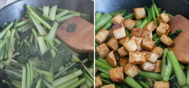 Choy sum stir-fry tofu in garlic sauce 6