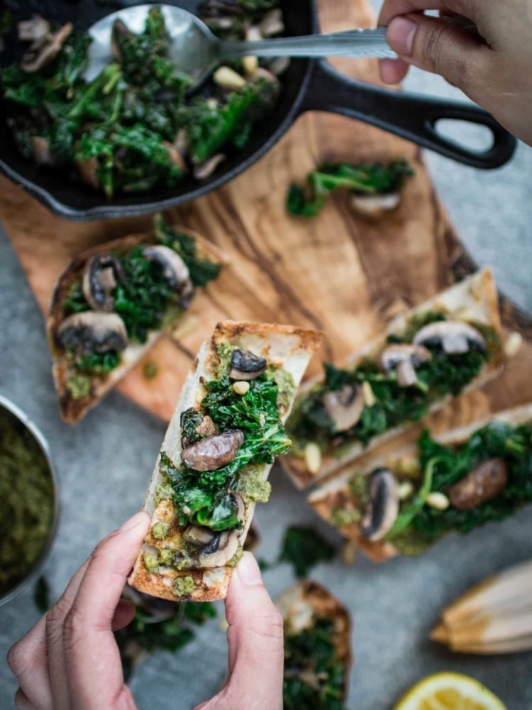 K33 Kitchen Pesto on toast with kale and mushroom