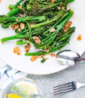 k33kitchen tenderstem broccoli with garlic almond feature