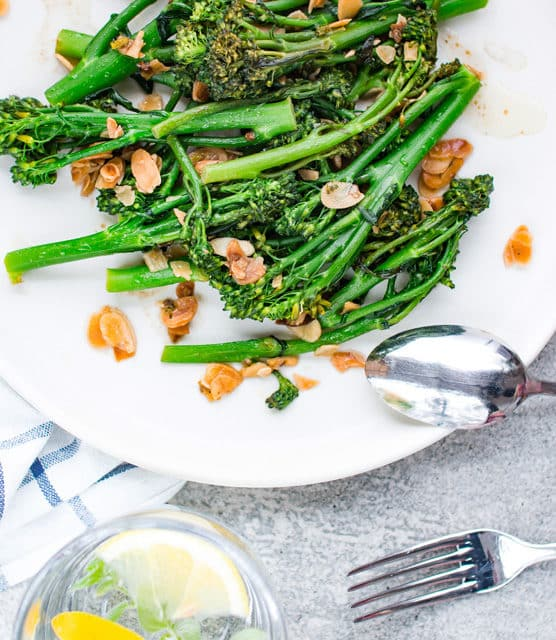 k33kitchen tenderstem broccoli with garlic almond feature