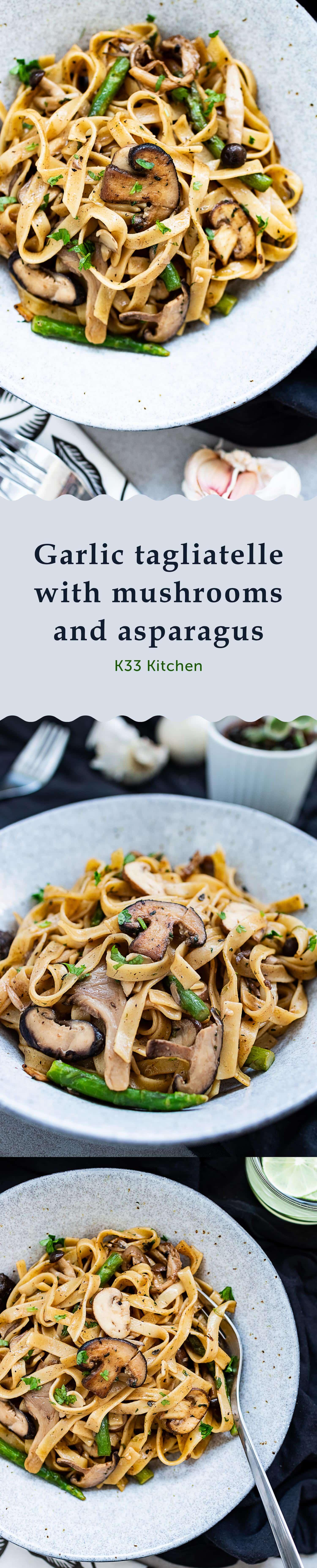 Garlic tagliatelle with mushrooms and asparagus