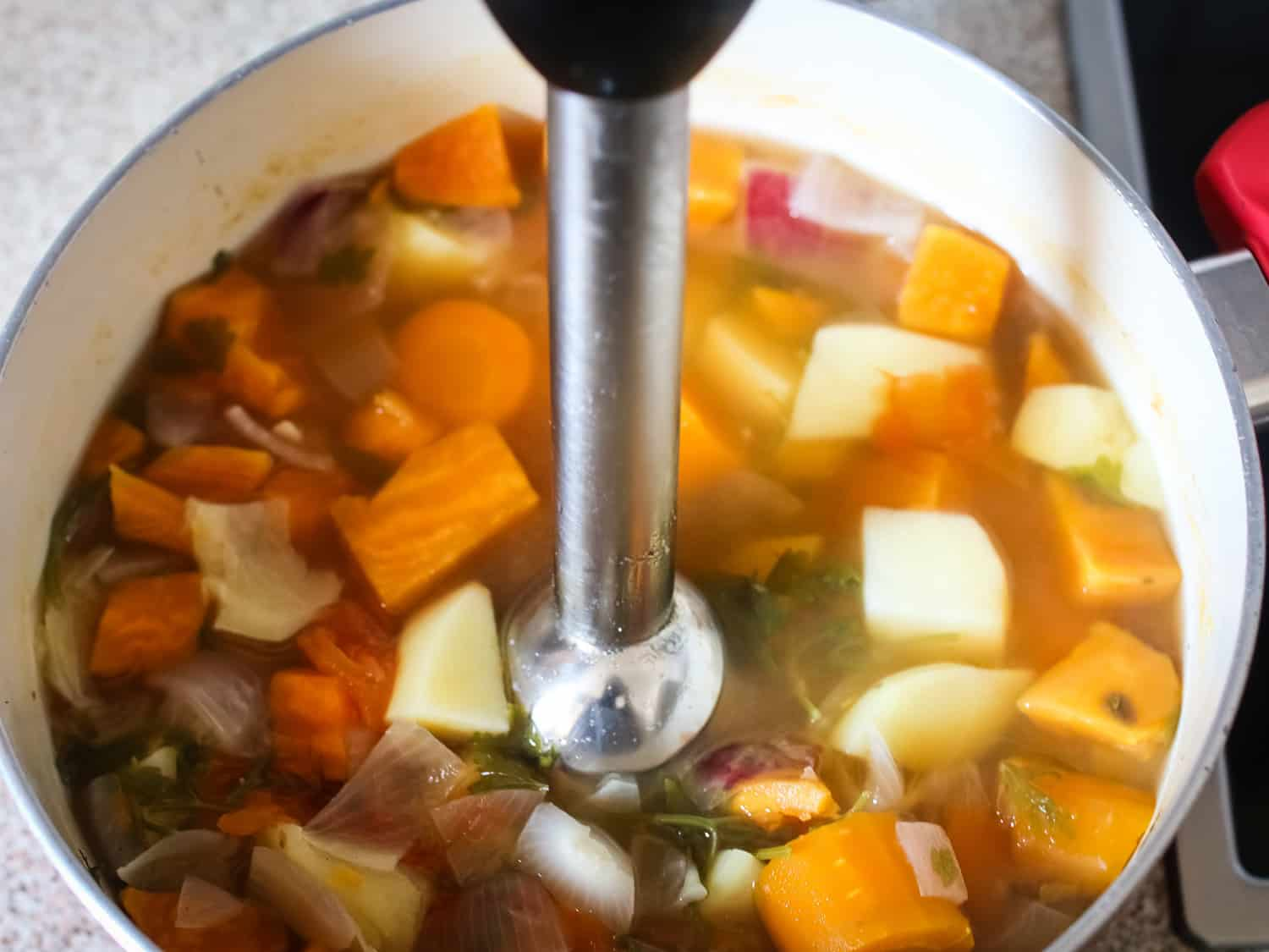 Creamy mixed roots soup