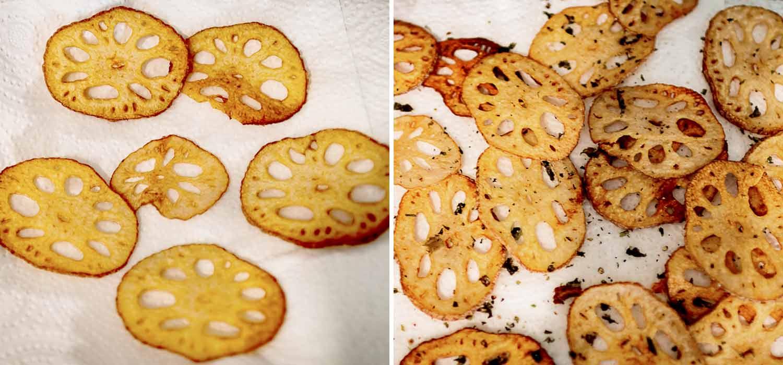 Crispy lotus root chips
