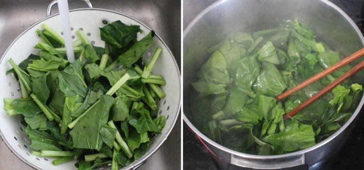 Korean-style sesame spinach salad sigeumchi namul