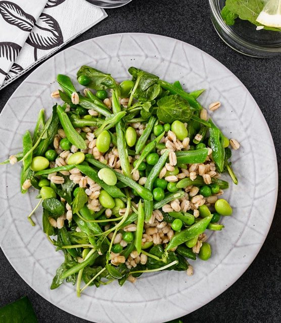 Runner beans, peas, edamame and barley salad