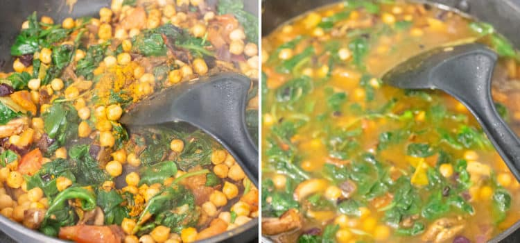 Chickpea curry with spinach and mushroom