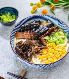 Miso udon noodles teriyaki aubergine