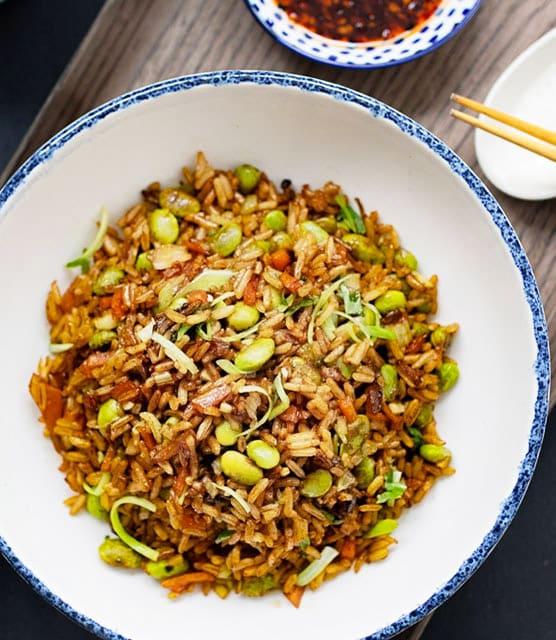 Mixed mushrooms and edamame fried rice