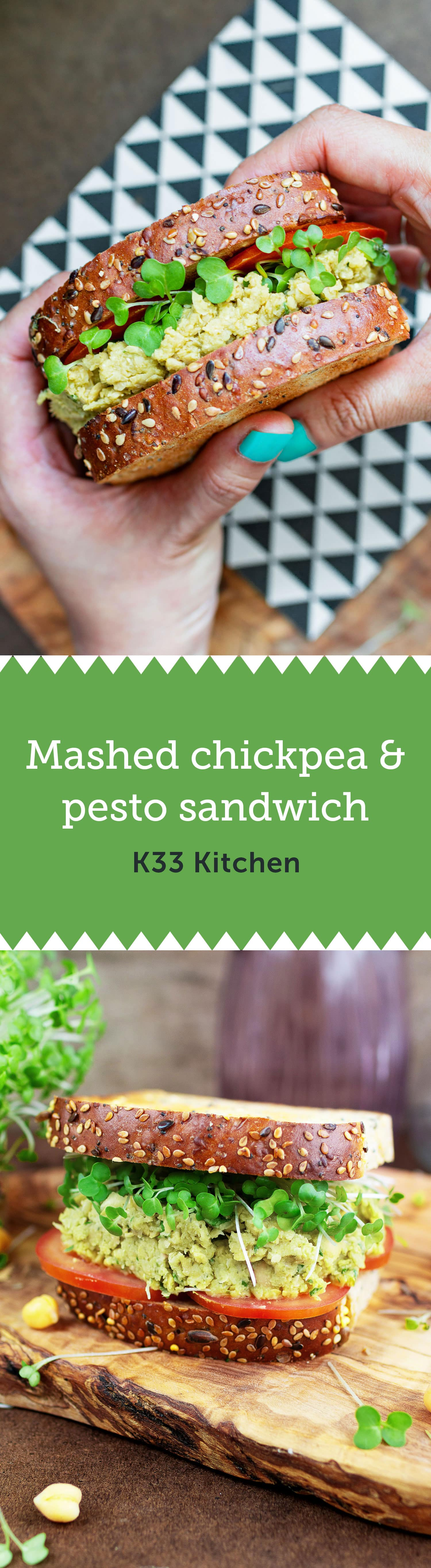 Mashed chickpea pesto sandwich