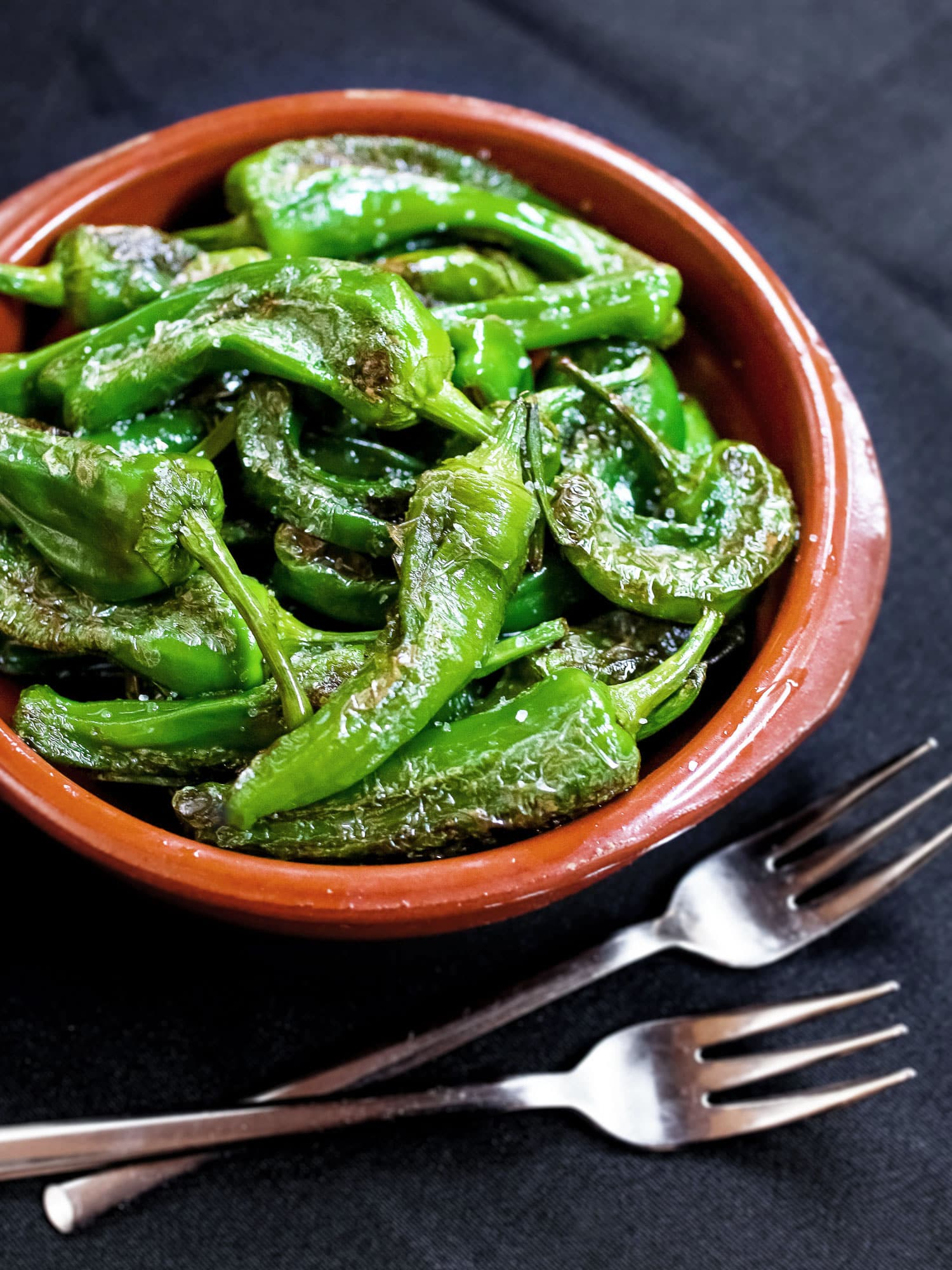 Vegan-friendly Spanish tapas style green pepper (pimientos de padrón)