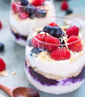 Summer berries yogurt parfait with popped amaranth