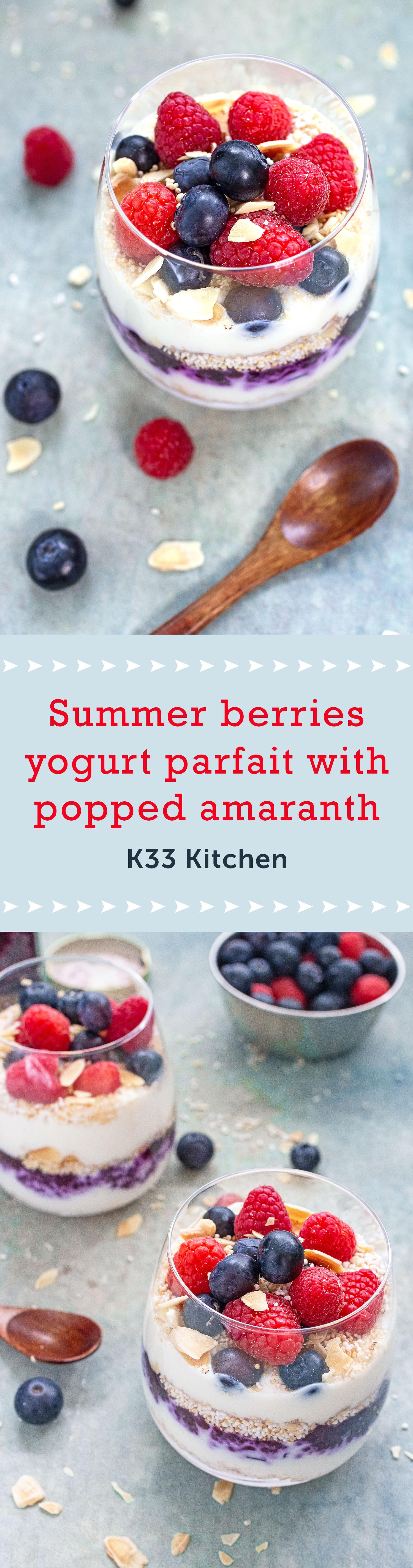 Summer berries yogurt parfait with popped amaranth
