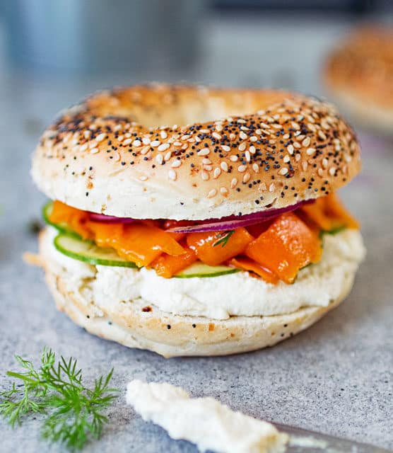 K33 Kitchen vegan salmon(carrot lox) & cream cheese bagel