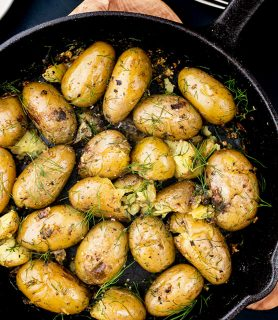 K33 kitchen new potatoes with garlic and dill