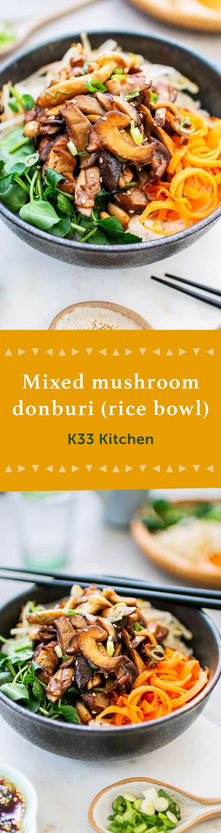 K33Kitchen Donburi de setas variadas bol de arroz