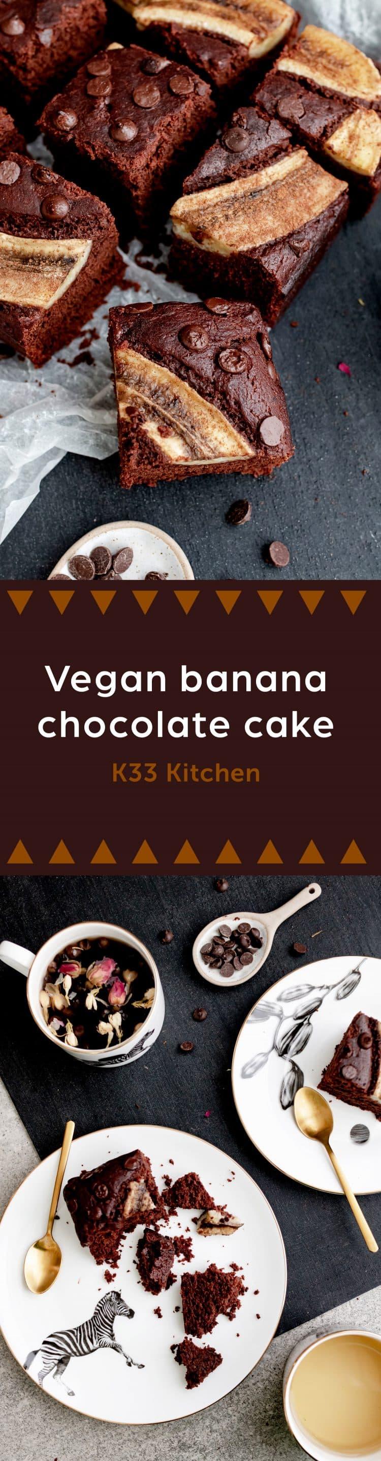 K33kitchen vegan banana chocolate cake