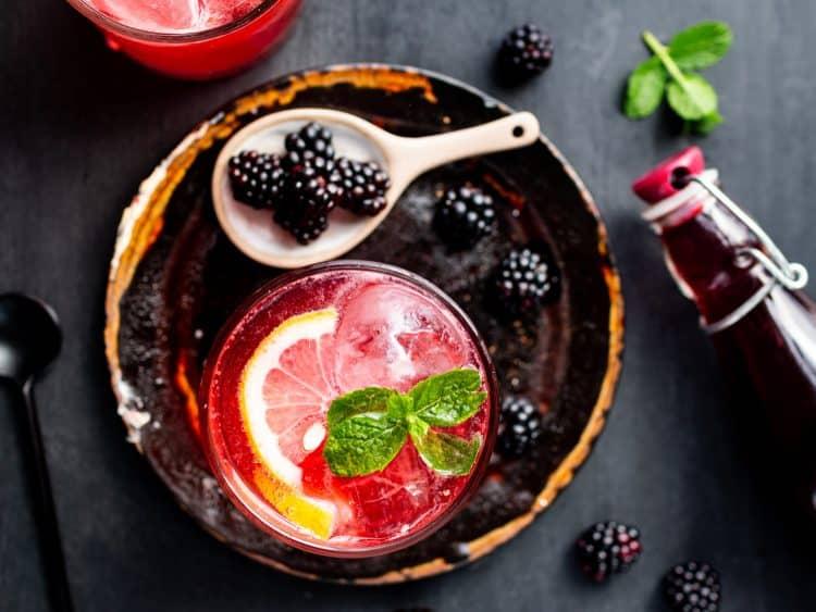 Homemade wild blackberry cordial